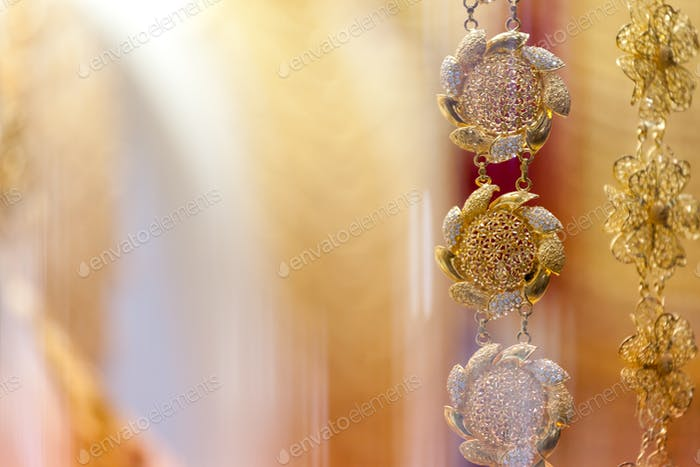 Golden jewellery in golden market in Deira, Dubai