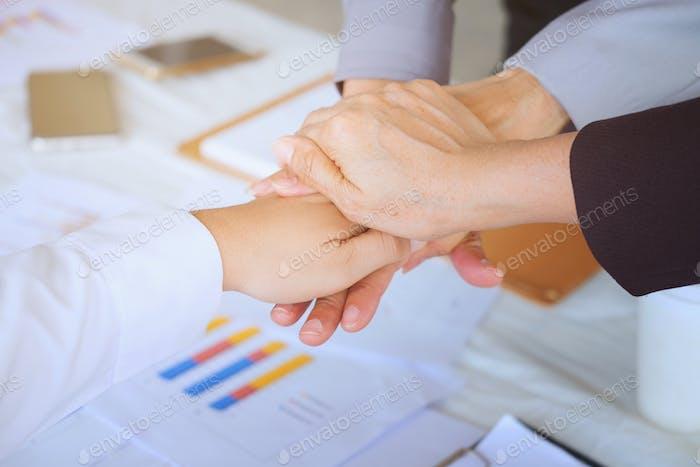 Business men making handshake, Partnership congratulation, merger and acquisition concepts