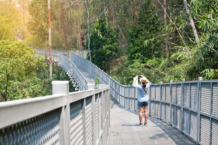 Traveller walking and shooting photo on Canopy Walks