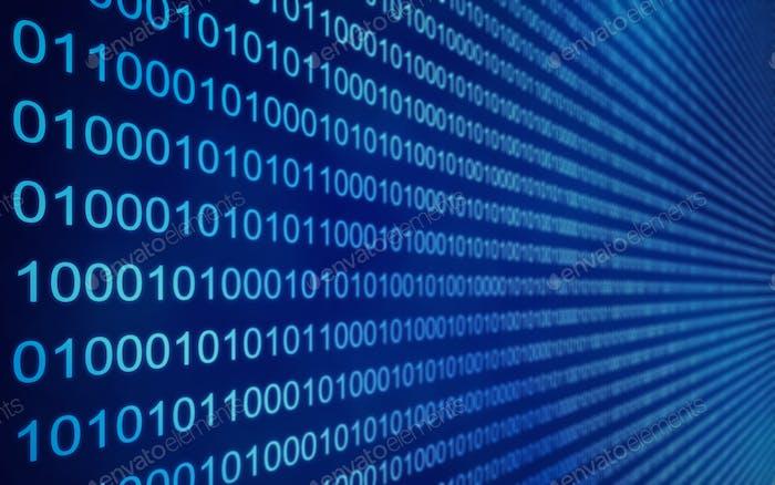 01 o datos binarios en la pantalla del ordenador, render 3D