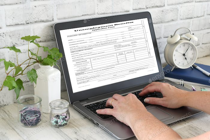 Applying for Unemployment Benefits online, laid off out of work jobless welfare help fired severed