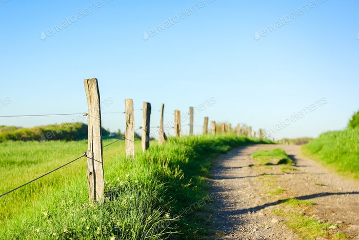 Wooden fences in a beautiful countryside.