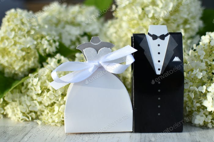A bride and groom wedding favors in front of white hydrangeas. Generic couple