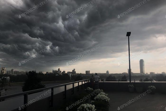 Storm clouds. City scape