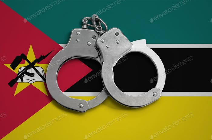 Mozambique flag  and police handcuffs
