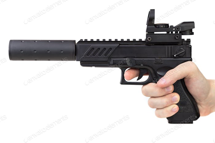 game weapon for airsoft in hand on a white background