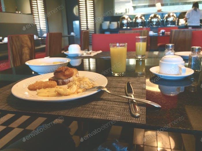 Breakfast on the bottom floor.