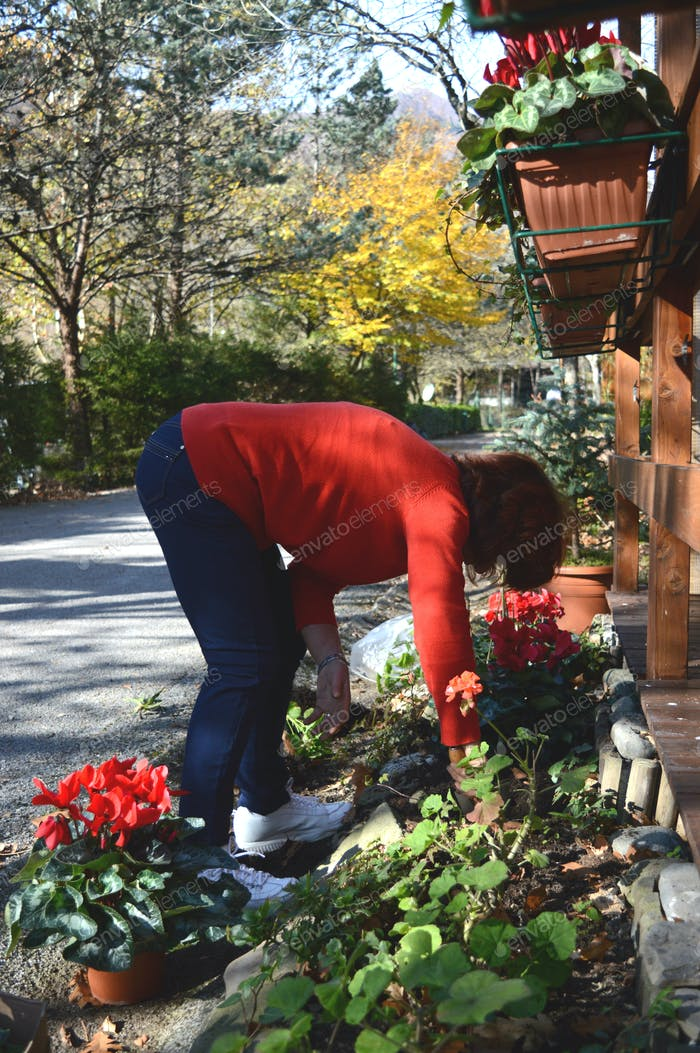 Mum doing gardening