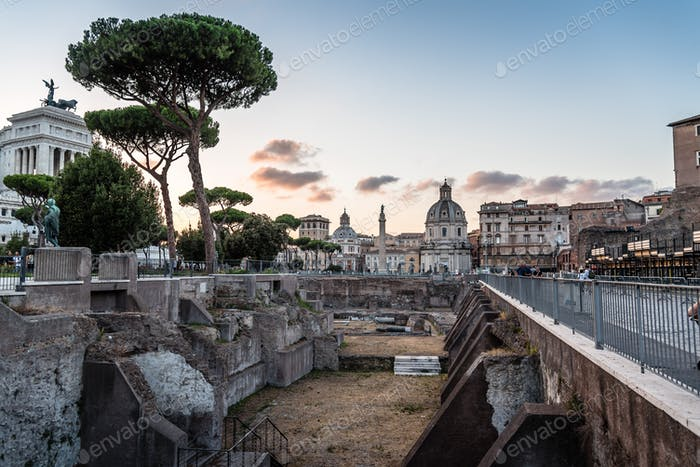 Forum of Trajan in the centre of Rome at sunset, Italy.