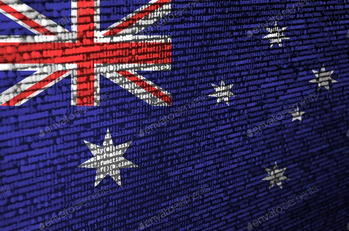 Australia flag  is depicted on the screen with the program code