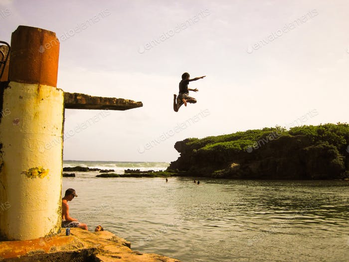 Brave kid outdoor diving
