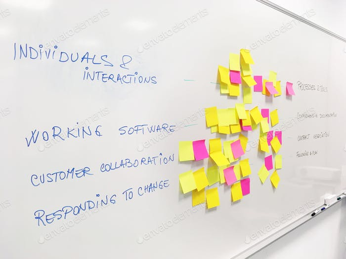 White board post-its Agile methodology