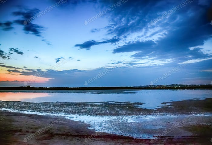 Serenity Lagoon Landscape In Blue Hour Sunset