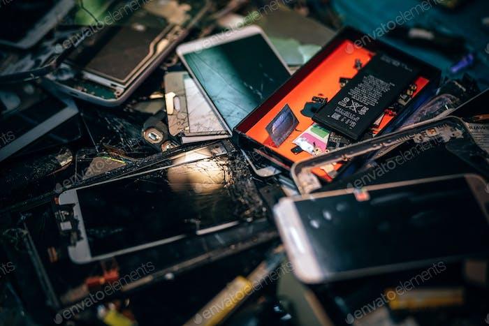 Close-up Shot of Broken Smartphones