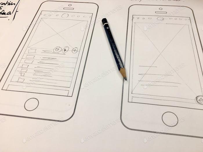 UI UX hand drawn wireframes