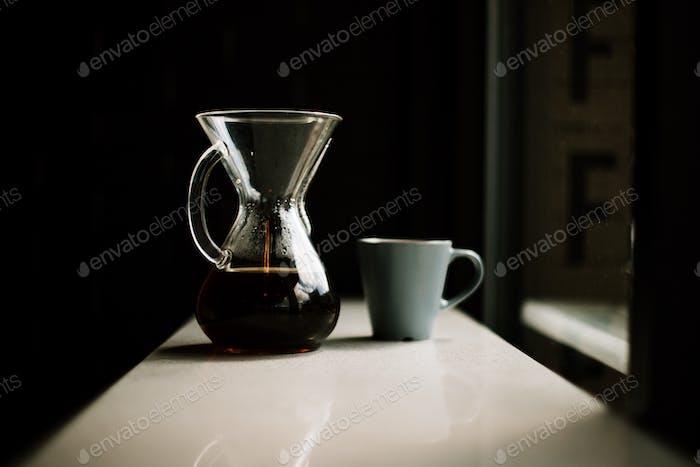 Chemex with a coffee mug