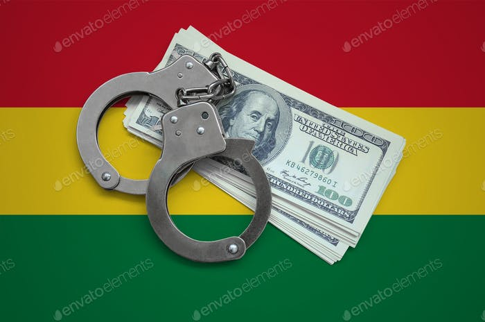 Bolivia flag  with handcuffs and a bundle of dollars