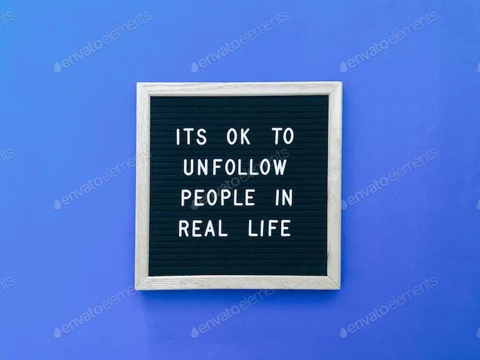 Está bien no seguir a la gente en la vida real