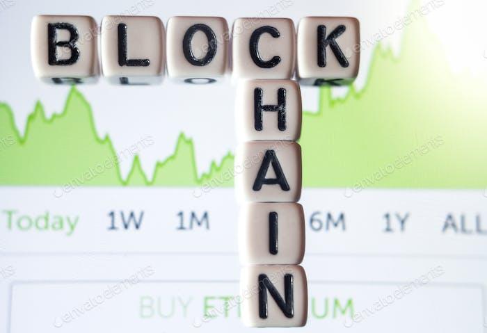 Blockchain dices on phone screen