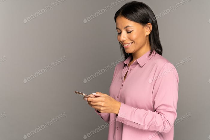 Happy woman use smartphone for online shopping with wifi connection or 5g mobile internet online