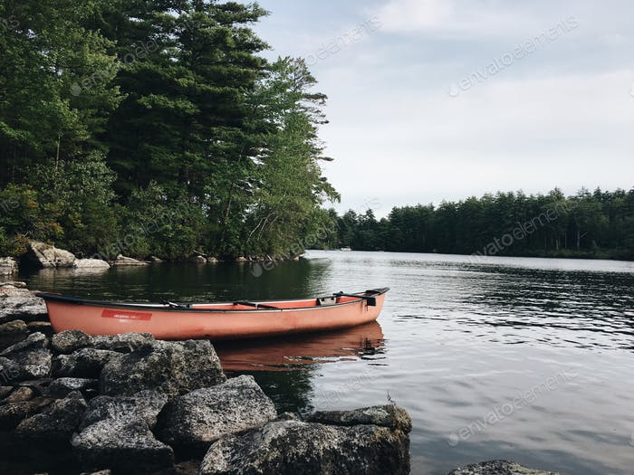 Kayaking on the lake in New Hampshire