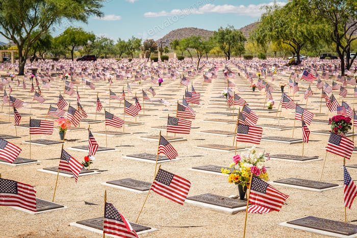 Flags at every grave on Memorial Day
