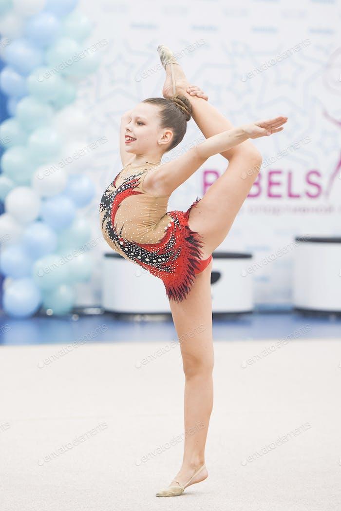 Rhythmic gymnastics competition, gymnastic girl