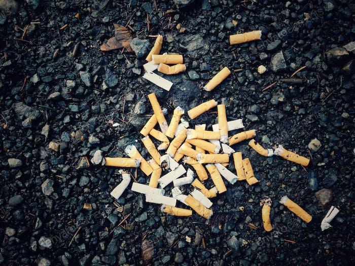 Haufen Zigarettenkippen auf Parkplatz auf Asphalt