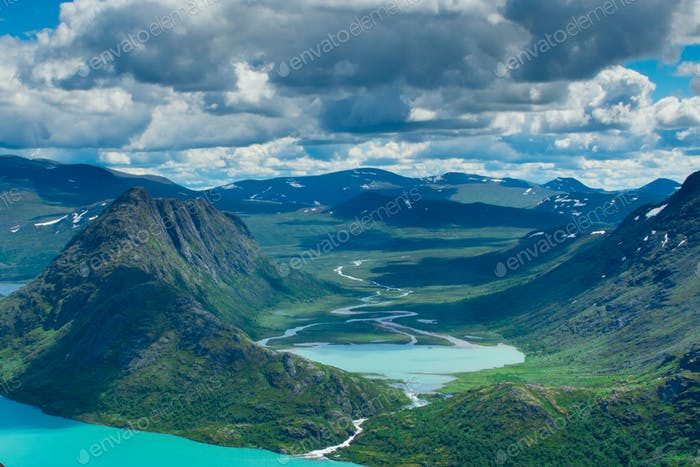 A magnificent view, close to the top of Besseggen. Lovely river delta below. 800 m below.