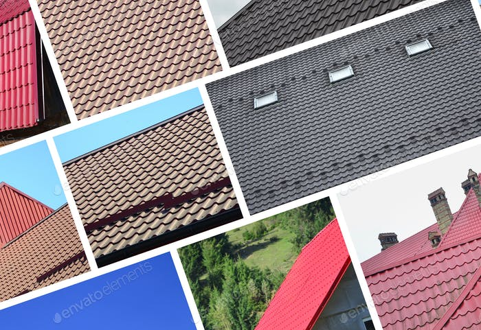A collage of many pictures with fragments of various types of roofing. Set of images with roofs
