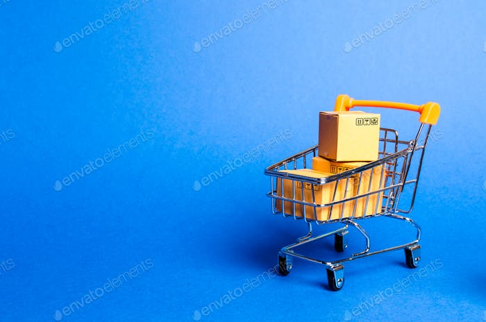 Supermarket cart with boxes, merchandise