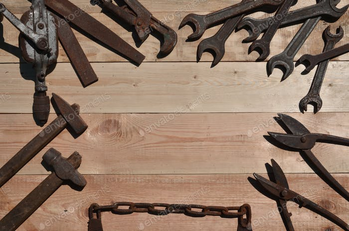 A set of old and rusty tools for handyman