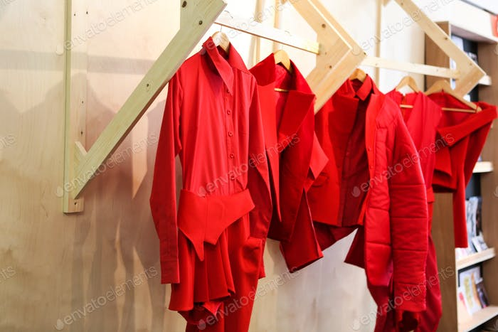 Red outfits on display
