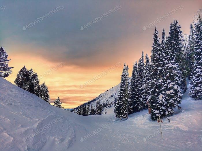 Puesta de sol Montana de Bridger Bowl