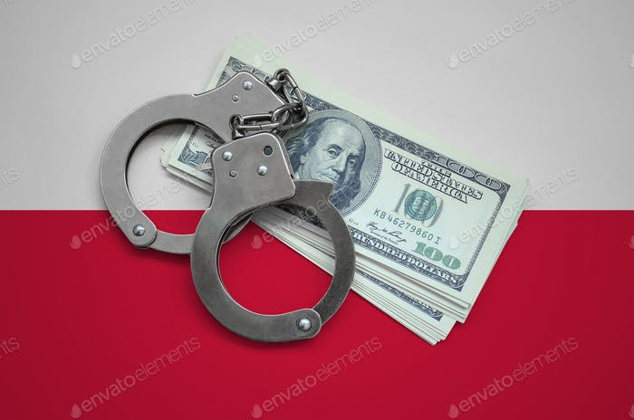 Poland flag  with handcuffs and a bundle of dollars