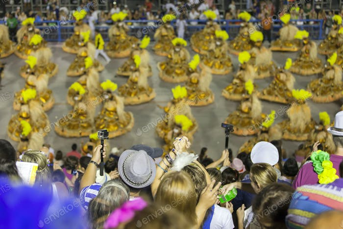 Spectators cheering up at the Rio de Janeiro Carnaval at the Sambodrome