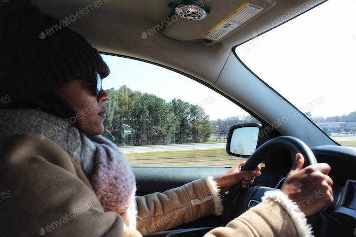Girl on a mission... driving!