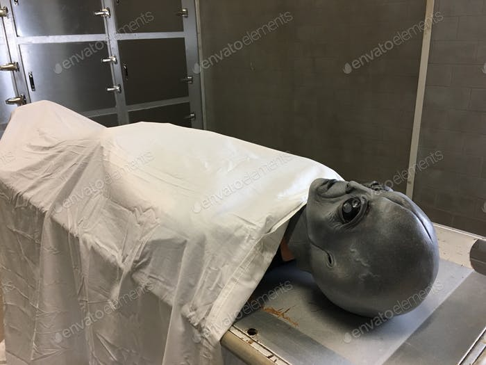 Alien autopsy - space invader on a gurney in the morgue