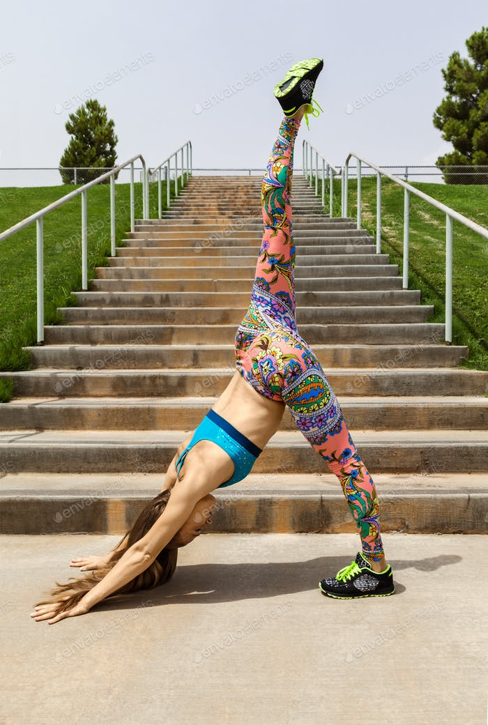 Young Woman Doing Standing Split Outdoor, Yoga Pose