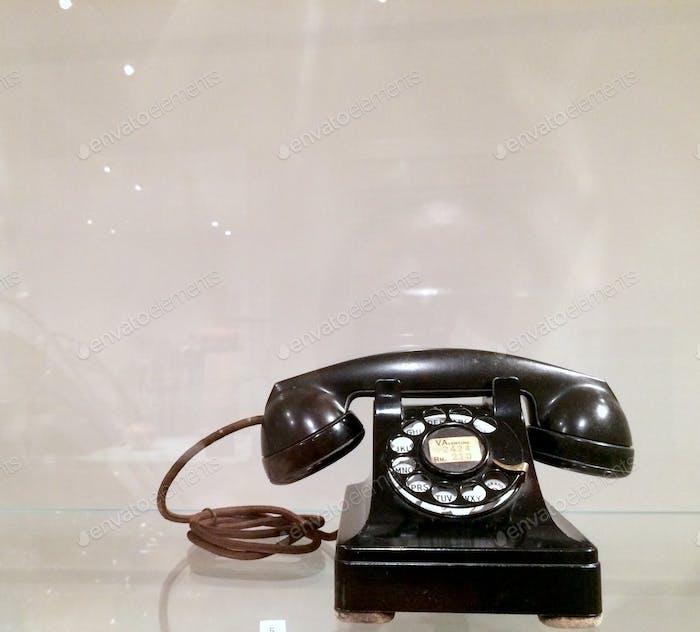 Antique vintage black rotary telephone
