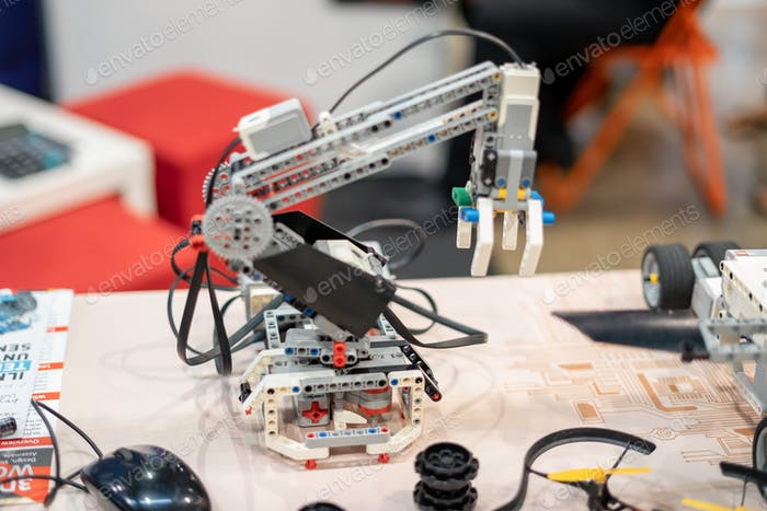 robotic robot hand on display at the digital exhibition