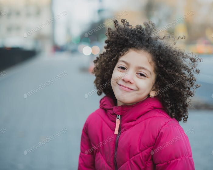 Girl with curly hair portrait