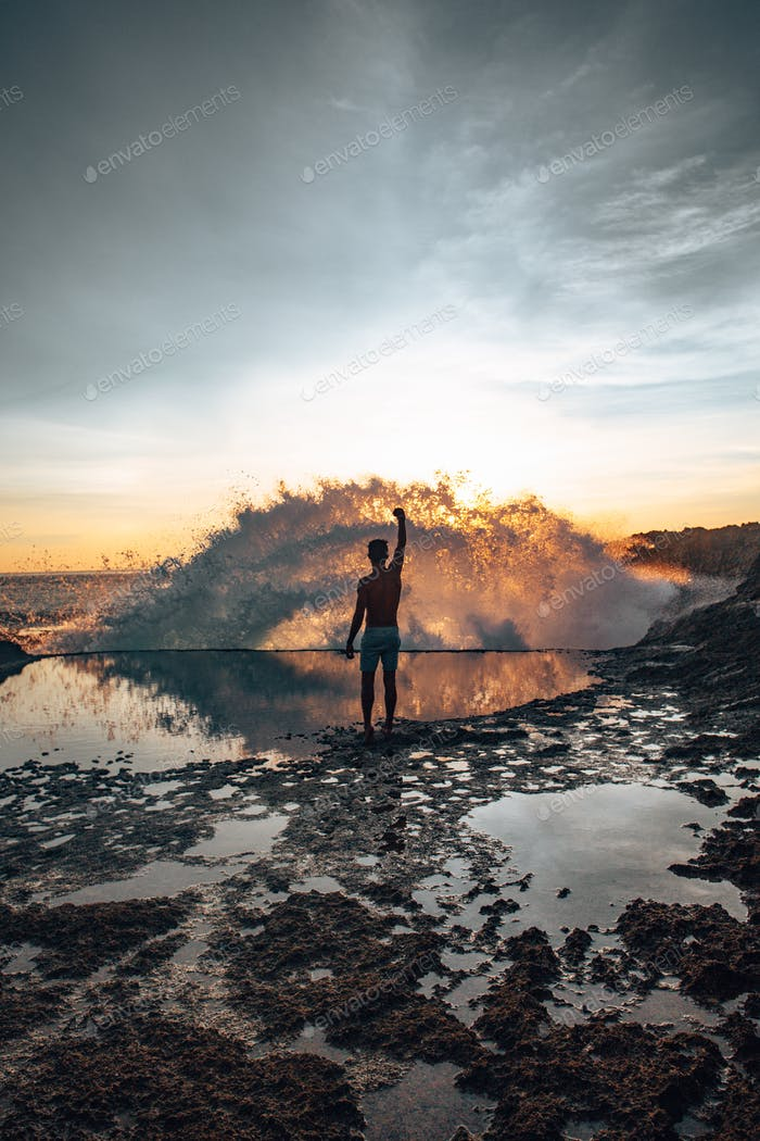 Bali Wave Crash at Sunset