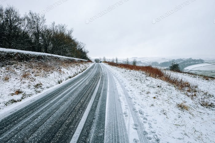 Snow on the road in Yorkshire, United Kingdom