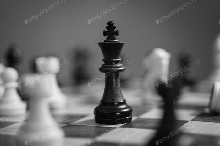 Chessboard game in black and white