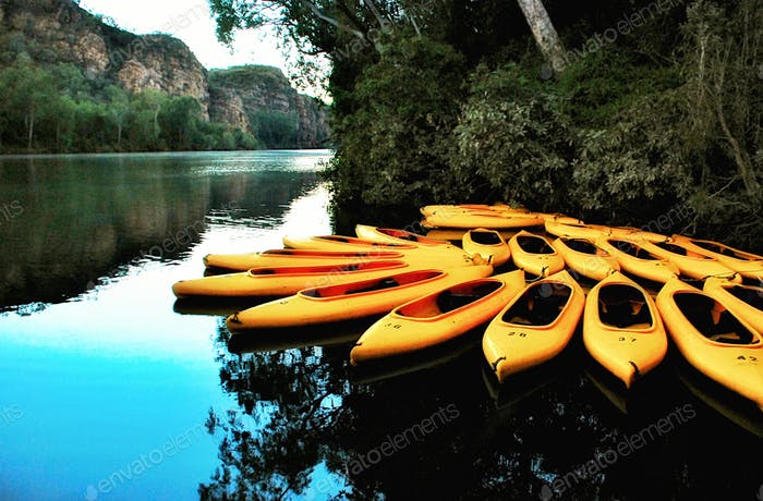 Kayaks in Katherine Gorge Northern Territory Australia