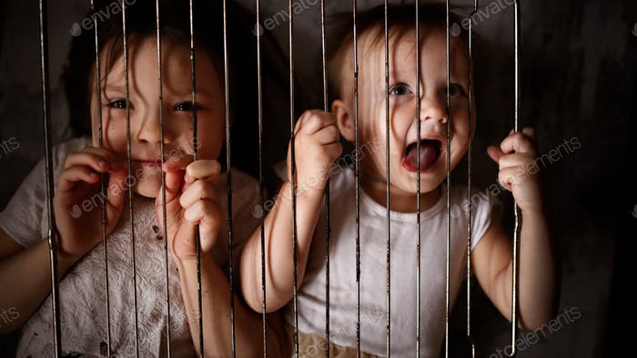 Children in a cage