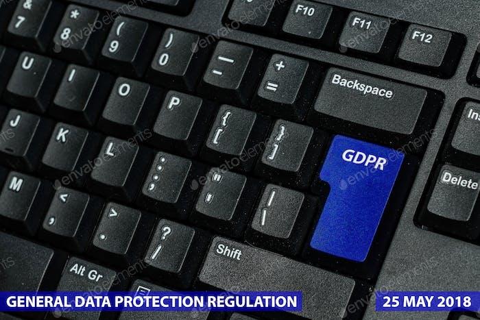 Tecla azul con texto RGPD como símbolo del Reglamento General de Privacidad y Protección de Datos en un