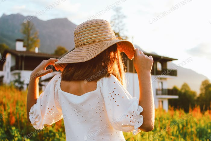 *** Nominated *** Beautiful romantic preteen girl in straw hat against the background of beautiful