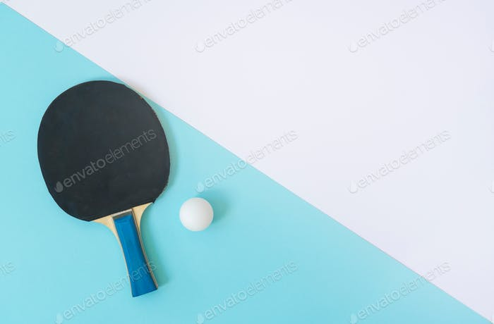 racket for table tennis on an abstract white blue background, diagonal, texture
